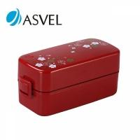 阿司倍鹭( ASVEL)日式情侣学生白领双层便当盒饭盒可微波炉加热 620ml 梅花红