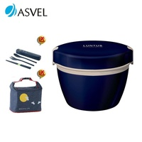 阿司倍鹭 asvel 不锈钢可微波炉加热双层保温饭盒便当盒 800ml蓝色 送保温袋和餐具